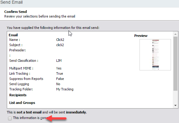Salesforce Marketing Cloud: Confirm Send screen