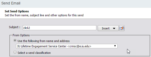 Salesforce Marketing Cloud: Set Send Options screen