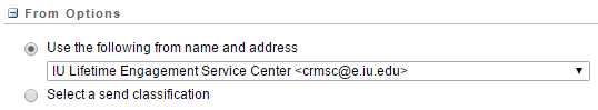 Salesforce Marketing Cloud: From Options screen (select name and address