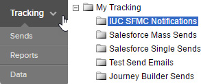 Salesforce Marketing Cloud tracking menu