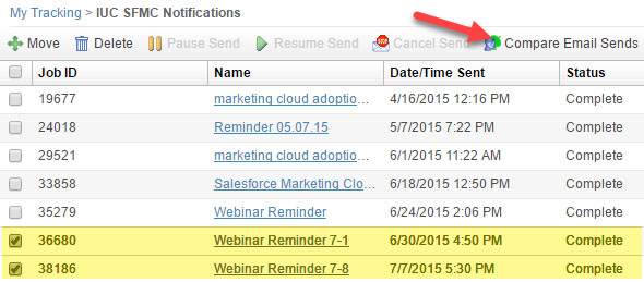 Salesforce Marketing Cloud Compare Email Sends