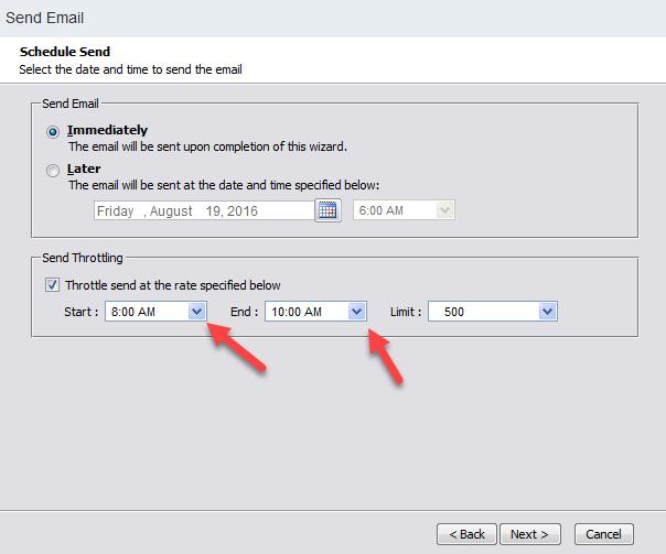 Salesforce Marketing Cloud Send Email options