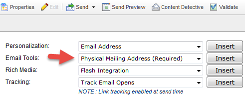 Salesforce Marketing Cloud anti-spam code (physical mailing address)