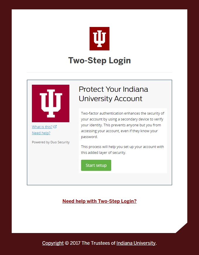 Two-Step Login (Duo) Protect Your Indiana University Account screen