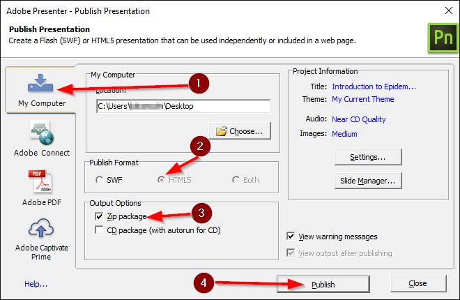 Adobe Presenter - Publish Presentation screen