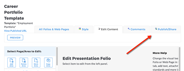Taskstream menu bar with publish/share button highlighted
