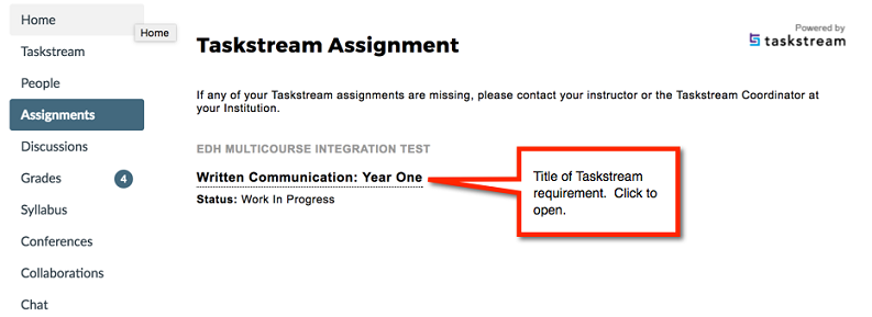 Screenshot highlighting the title of an assignment in Taskstream