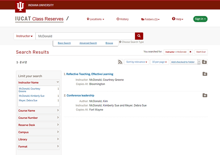 IUCAT Class Reserves Search Results page