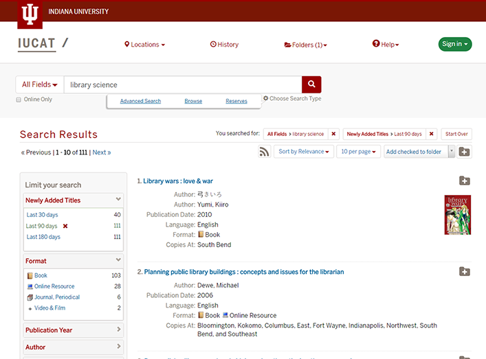 IUCAT Newly Added Titles facet search results