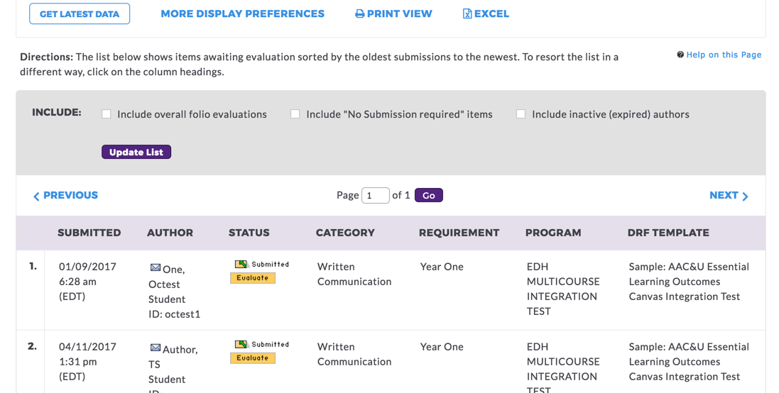 Screenshot of Taskstream window displaying list of student submissions requiring instructor evaluation