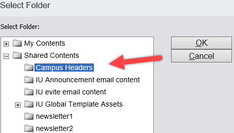 Campus Headers folder selected