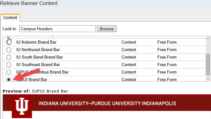 Available choices under Campus Headers