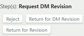 Definition request DM revision step with Reject, Return for DM Revision, and Return for Revision buttons