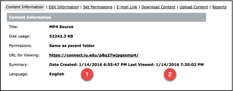 Screenshot of Adobe Connect's content information screen with cate created and date last viewed highlighted