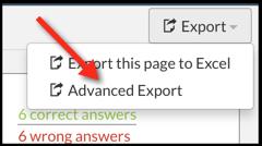 Top Hat Advanced Export option in Gradebook