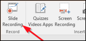 Office Mix menu with arrow pointing to Slide Recording button