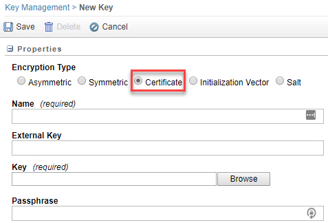 For 'Encryption Type', select 'Certificate'.