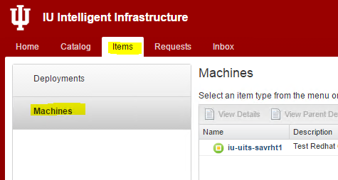 Intelligent Infrastructure Items tab with Machines option highlighted
