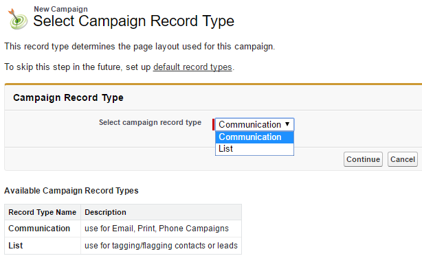 Service Cloud Campaign Record Type menu