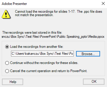 Adobe Presenter warning message: Cannot load the recordings