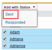 Salesforce Service Cloud: Add with Status drop-down menu