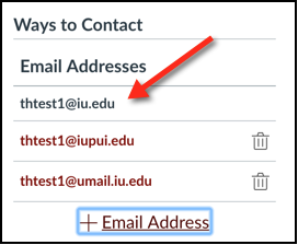 List of ways to contact a user in Canvas; default address appears without a trash can icon next to it
