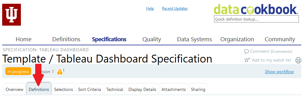 Data Cookbook Tableau dashboard specification page with definitions tab highlighted