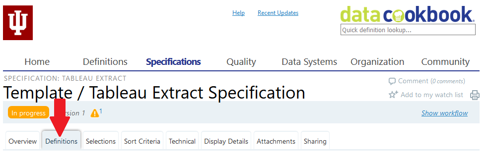 Data Cookbook specification: Definitions tab