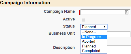 Service Cloud Campaign Status options