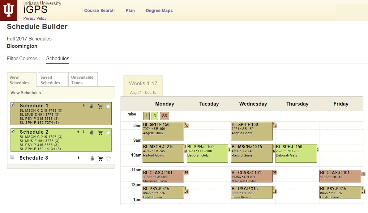 Schedule Builder: Build custom class schedules to accommodate personal availability and meet degree requirements