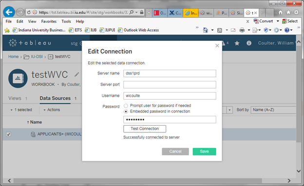 Tableau Edit Connection window