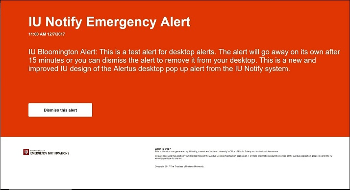Alertus notification pop-up