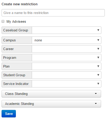 Create new restriction screen