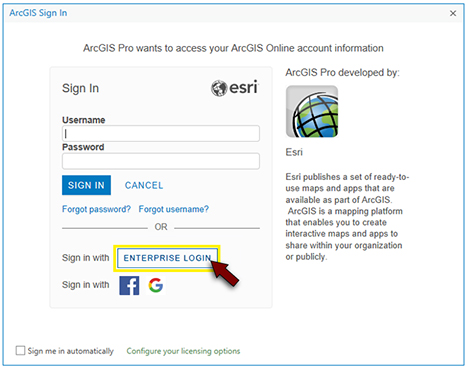 The 'ArcGIS Pro Sign In' window with the 'Enterprise Login' button highlighted