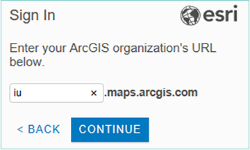 The 'ArcGIS Pro Sign In' window with the IU ArcGIS Online organization URL entered