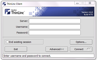 The ThinLinc Client login window