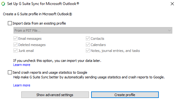 Popup: Google Apps Sync for MS Outlook