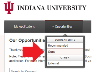 AcademicWorks Opportunities tab options: Recommended, Ours, and External