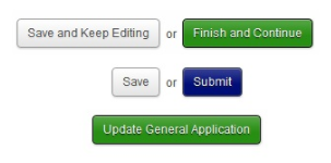 AcademicWorks button options: 'Save and Keep Editing' or 'Finish and Continue', 'Save' or 'Submit', 'Submit General Application'