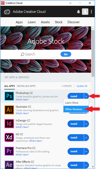 Creative Cloud applet with 'Install' drop-down and 'Other Versions' option highlighted