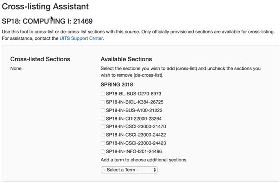 Canvas Cross-listing Assistant main screen