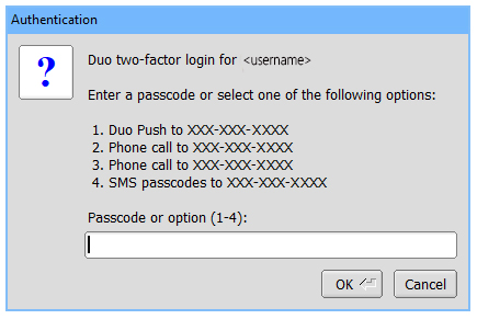 Duo two-factor authentication options for logging into RED
