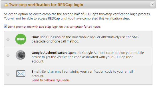 IU REDCap two-factor authentication options