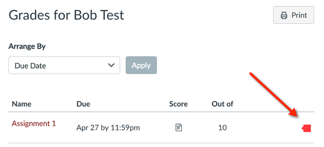 Canvas Gradebook student view with color-coded similarity icon