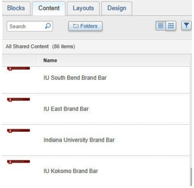 On the 'Content' tab, the campus-specific branding bars are in the 'Shared Contents' folder
