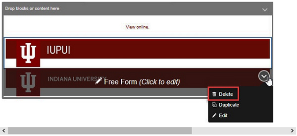 Screenshot showing the location of the 'Delete' option for the default IU branding bar after inserting a campus-specific branding bar to replace it