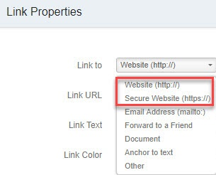 Select 'Link to' URL type