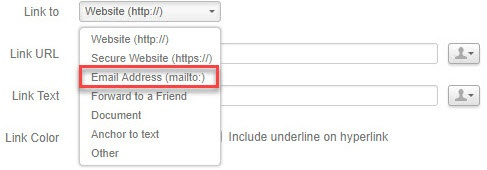 Select 'Email Address (mailto:)' from 'Link to' menu