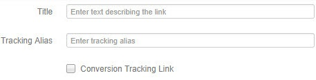 'Title', 'Tracking Alias', and 'Conversion Tracking Link' fields