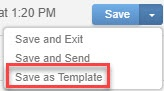 From the 'Save' drop-down menu, select 'Save as Template'